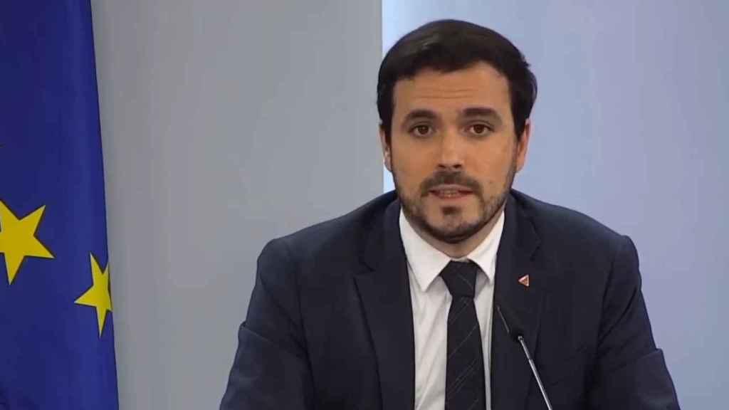 Alberto Garzón, ministro de Consumo, en la rueda de prensa posterior al Consejo de Ministros.