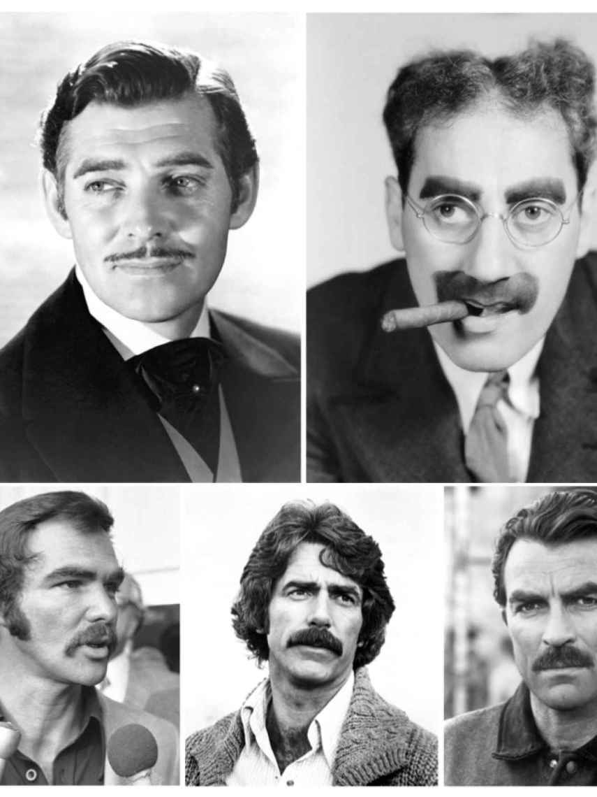 De izquierda a derecha y de arriba a abajo (Gable, Marx, Reynolds, Elliott & Selleck).