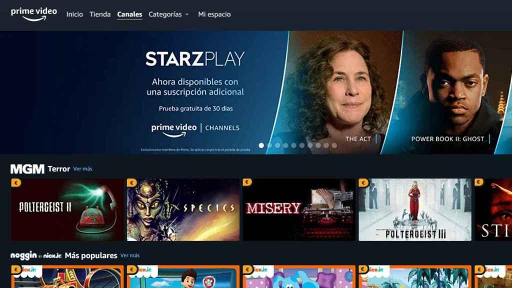 Canales de Amazon Prime Video.