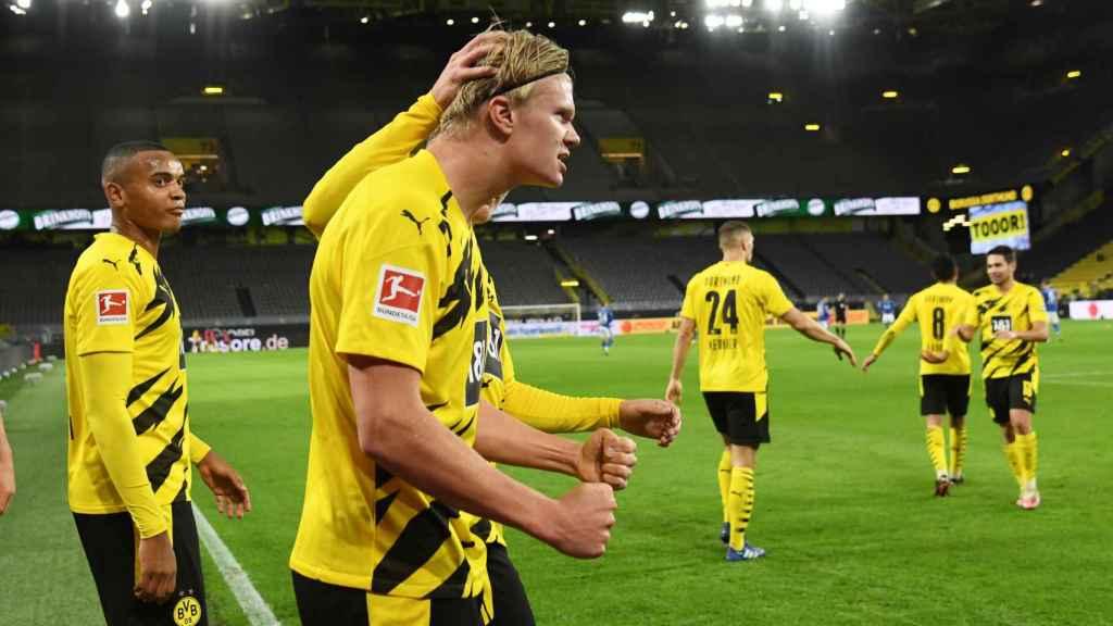Erling Haaland, celebrando un gol