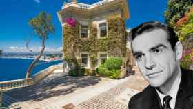 Sean Connery, junto a la que fuera su casa en Niza, en un fotomontaje de JALEOS.