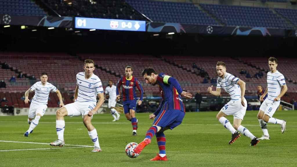 Leo Messi, en el Barcelona - Dinamo de Kiev de la Champions League