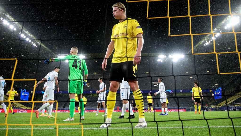 Erling Haaland, durante un partido de la Champions League