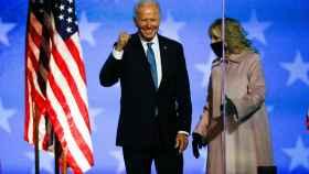 Joe Biden en su comparecencia en la noche electoral, sin poder declararse ganador.