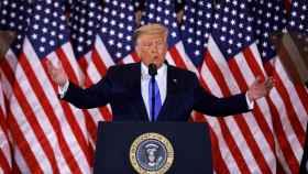 Donald Trump durante su declaración a los medios.