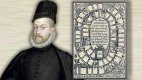 Felipe II y un antiguo tablero del juego de la oca.