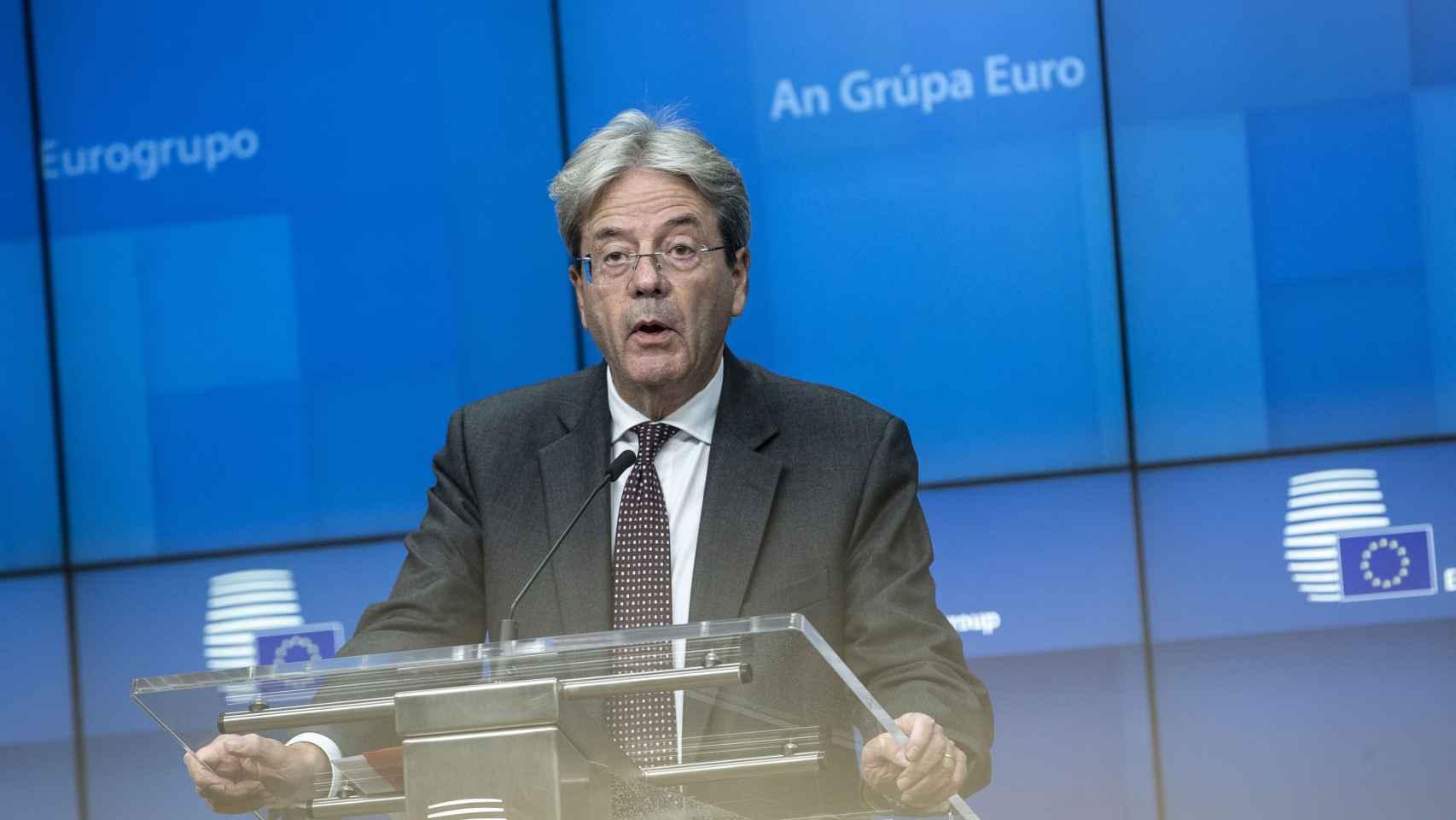 El comisario de Asuntos Económicos, Paolo Gentiloni, durante una rueda de prensa