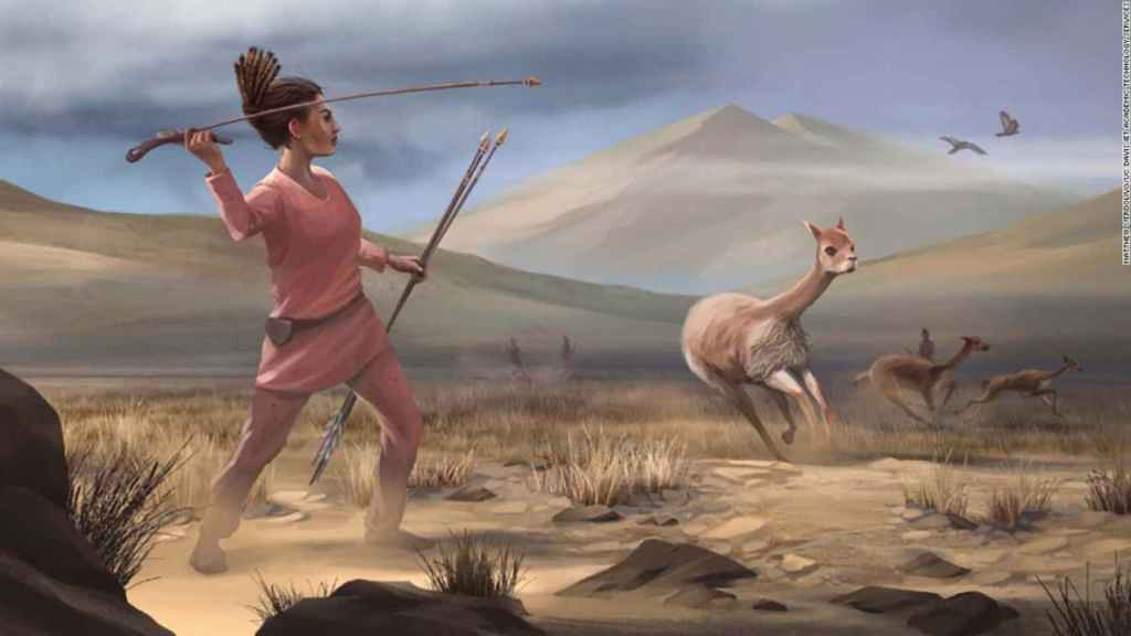 Dibujo de cómo las mujeres participarían de la caza mayor.
