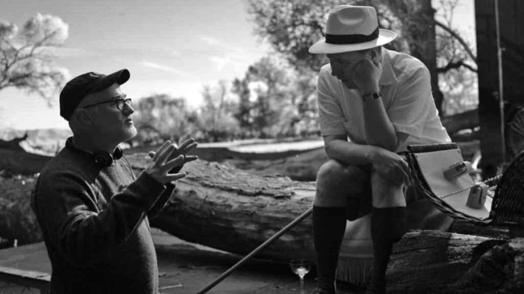 Fincher junto a Gary Oldman en el rodaje de Mank.
