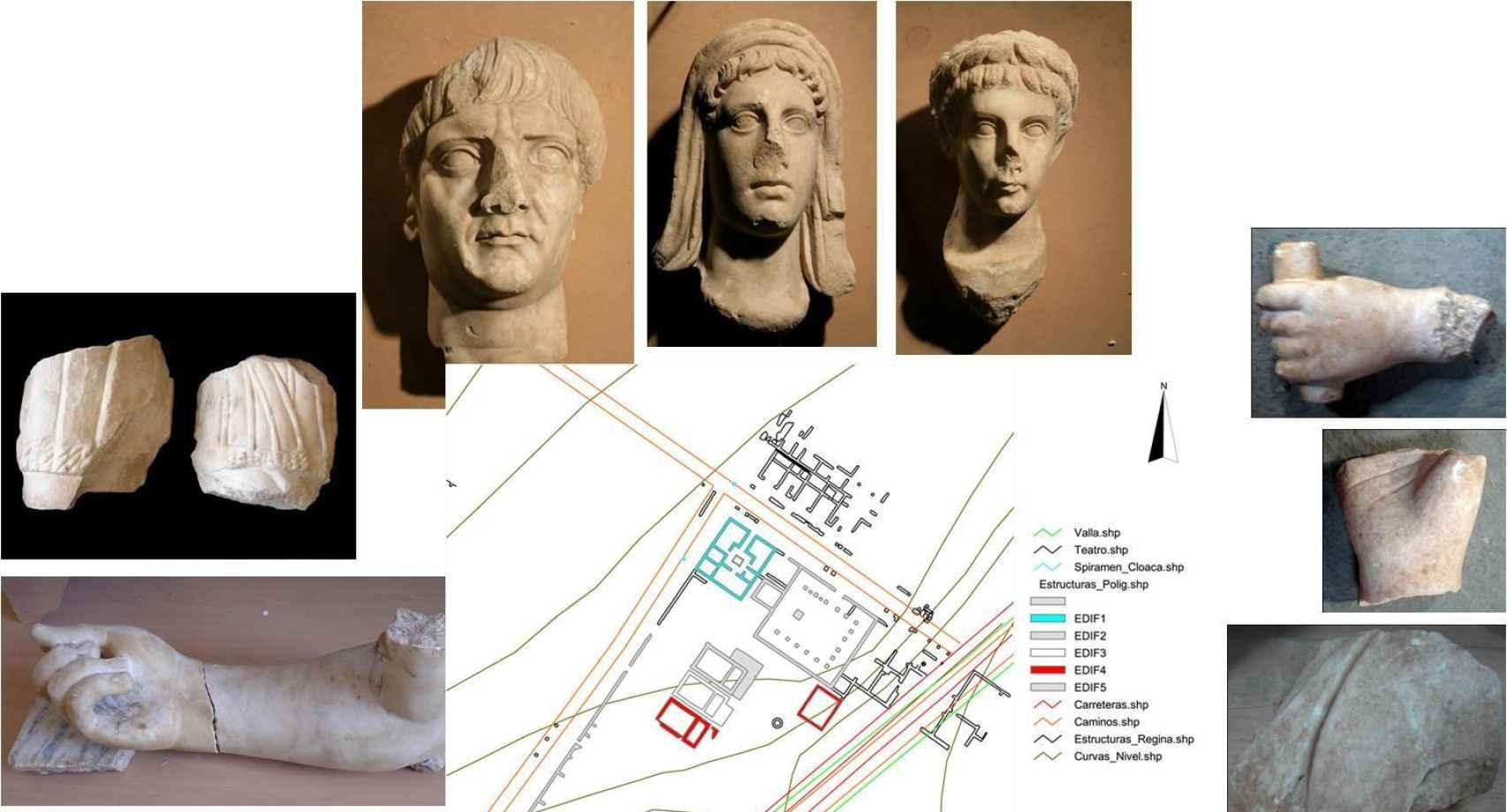El conjunto iconográfico de los templos del foro. Joven julio-claudio, efigie velada del genio de Regina y testa del emperador Trajano.
