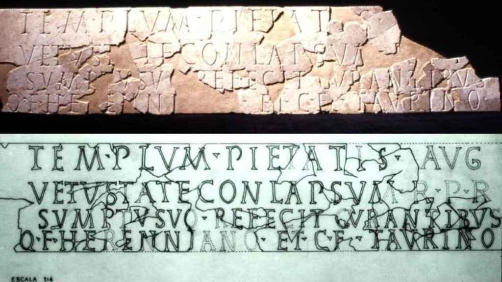 Inscripción referente al 'Templum Pietatis Augusta'.
