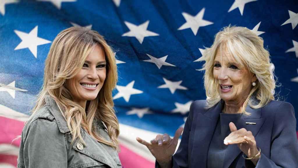 Melania Trump y Jill Biden, en un fotomontaje de JALEOS.