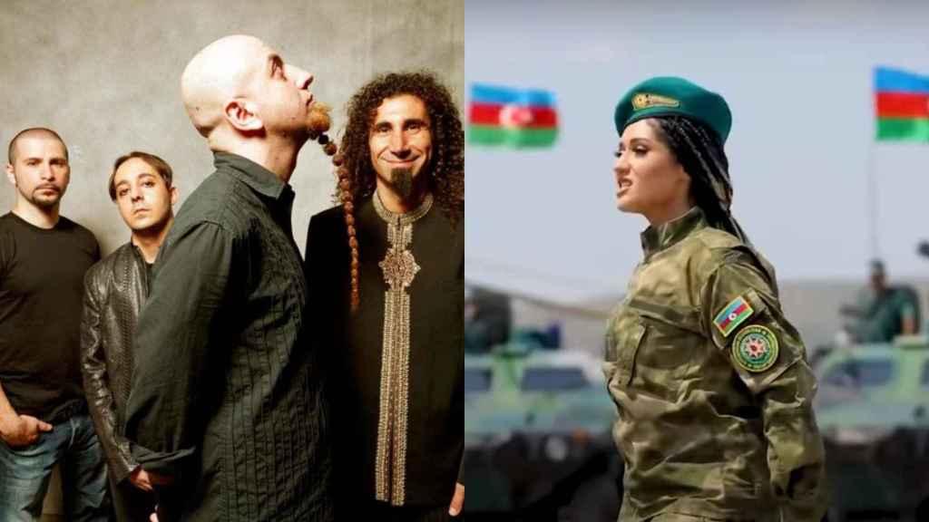 A la izquierda, la banda System of a Down. A la derecha, la cantante Narmin Karimbayova.