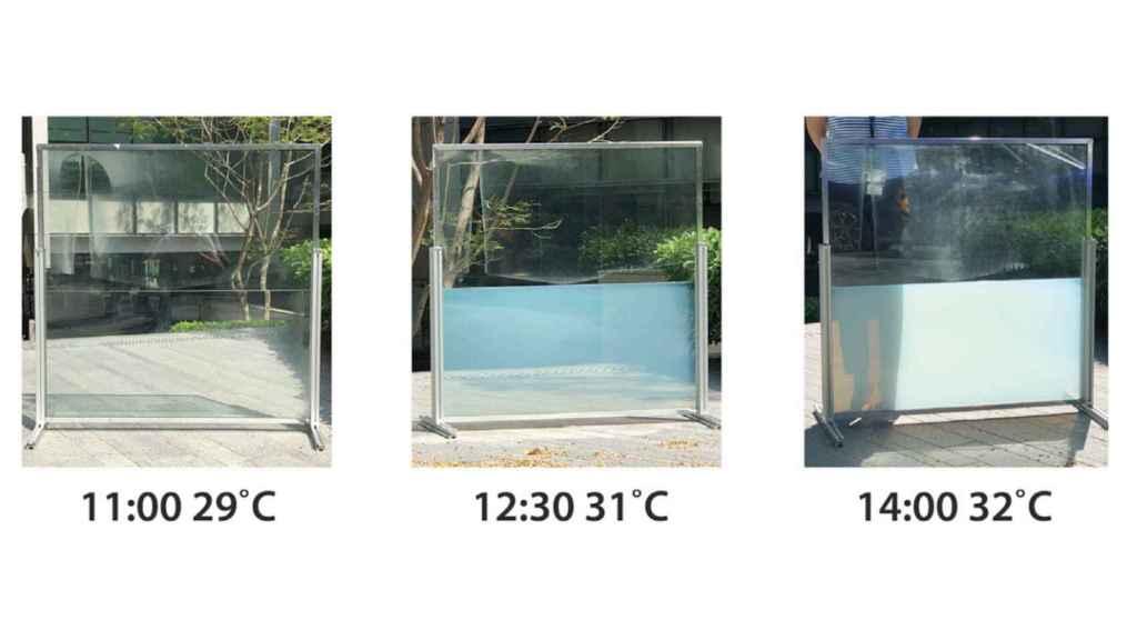 Funcionamiento de la ventana líquida conforme pasa el día