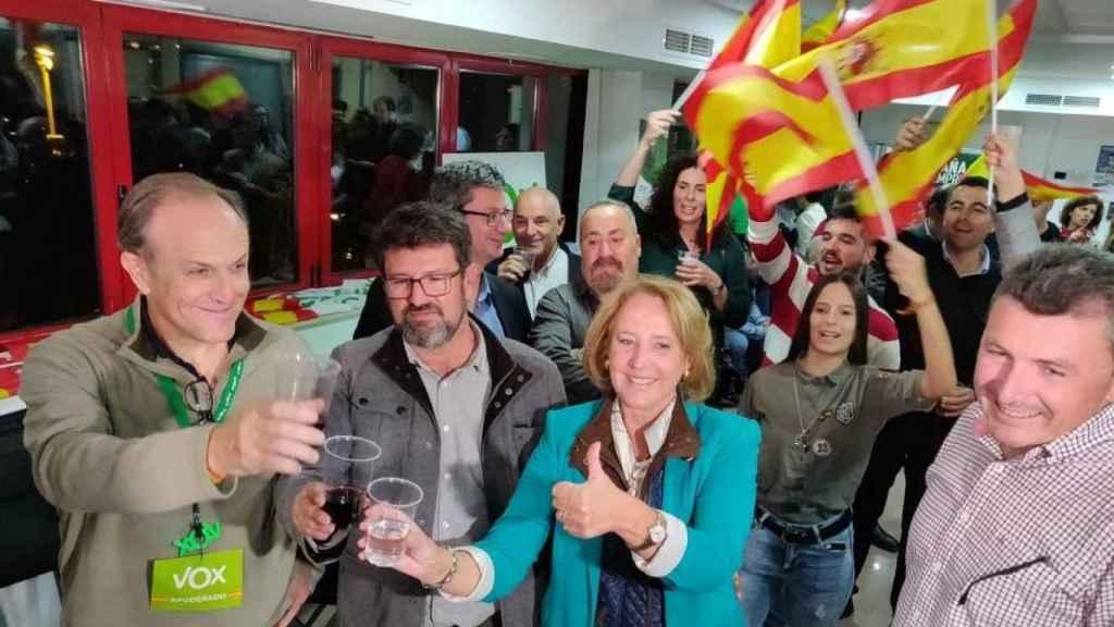 Imagen de la dirección provincial de Vox en Murcia celebrando los resultados del 10-N.