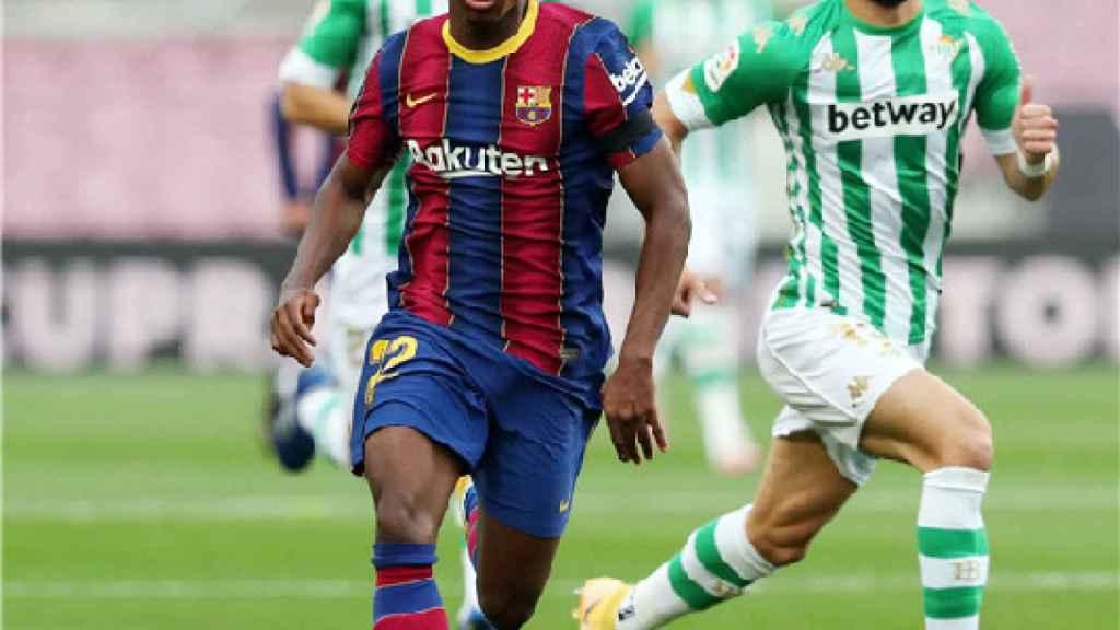 Ansu Fati durante un partido del FC Barcelona