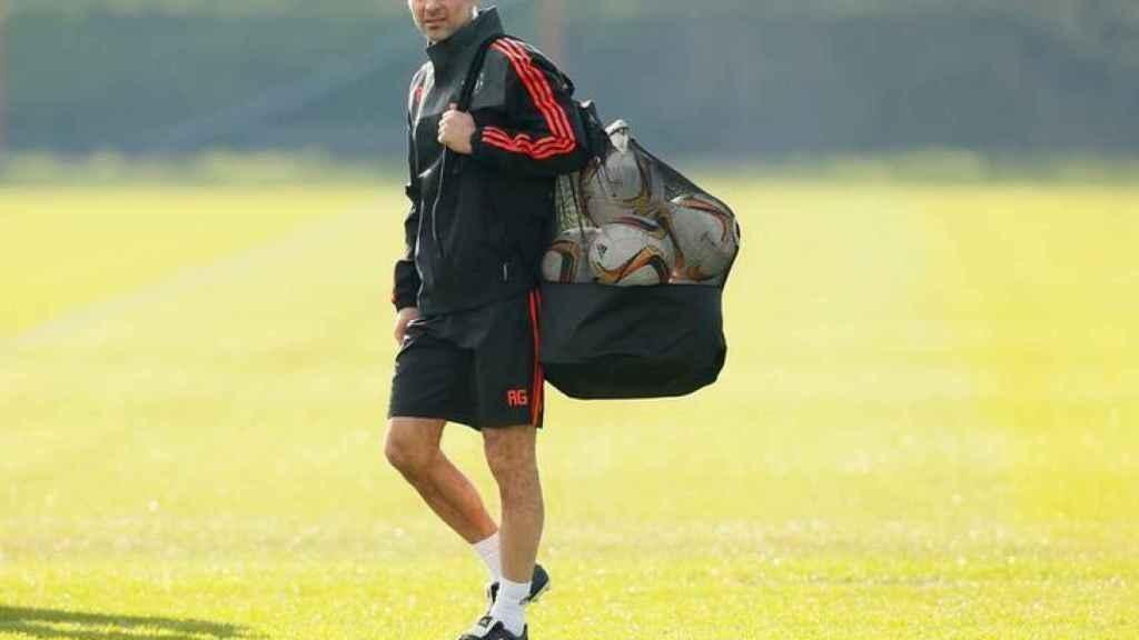 Ryan Giggs durante un entrenamiento del Manchester United