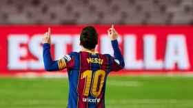 Messi celebra uno de sus goles ante el Betis