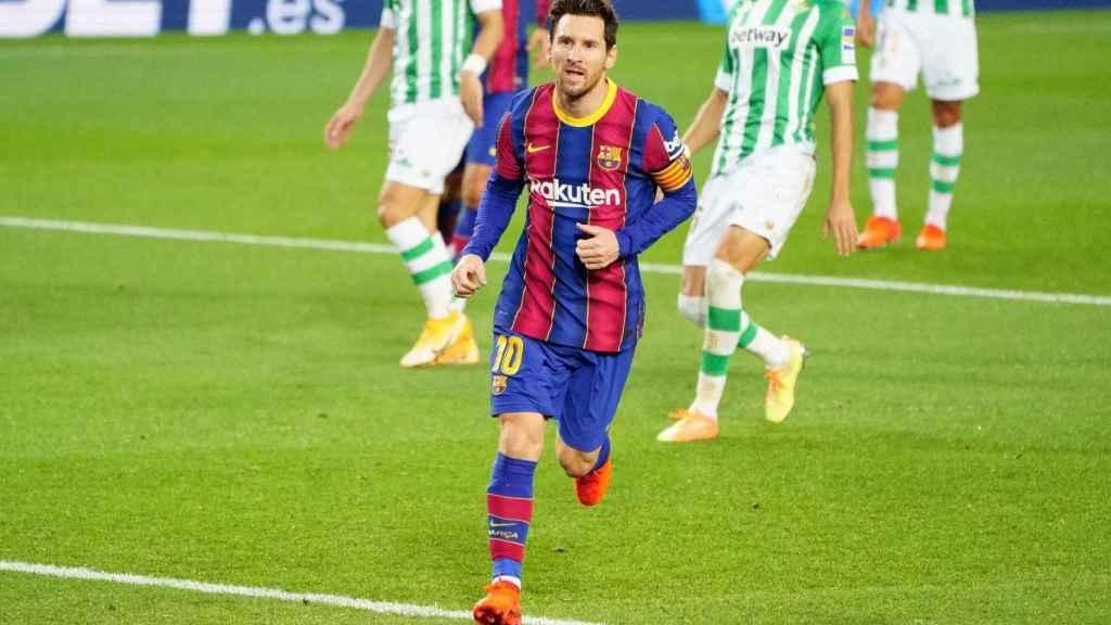 Messi celebra un gol con el FC Barcelona