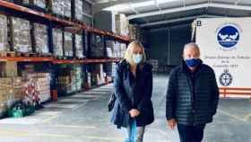Carmen Picazo y José Antonio García en el Banco de Alimentos de Albacete