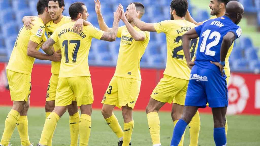 Los jugadores del Villarreal celebran uno de los goles ante el Getafe en Liga