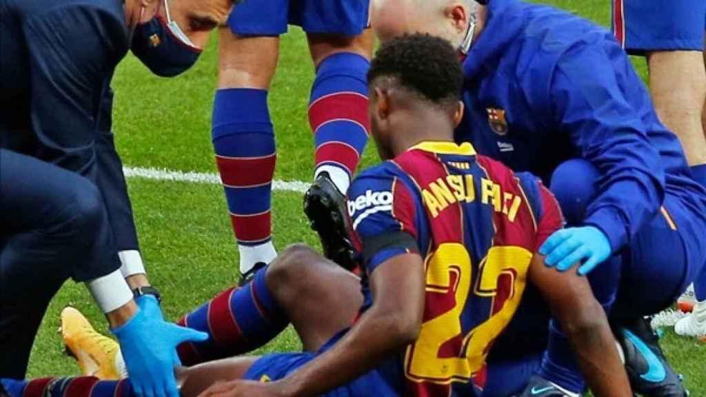 Ansu Fati, lesionado en el Barcelona - Betis de La Liga
