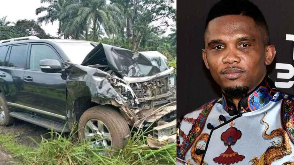 Samuel Eto'o y el automóvil en el que tuvo un accidente en Camerún