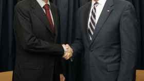 El expresidente del Gobierno de España, José Luis Rodríguez Zapatero, con Joe Biden en un encuentro en Chile en 2008.