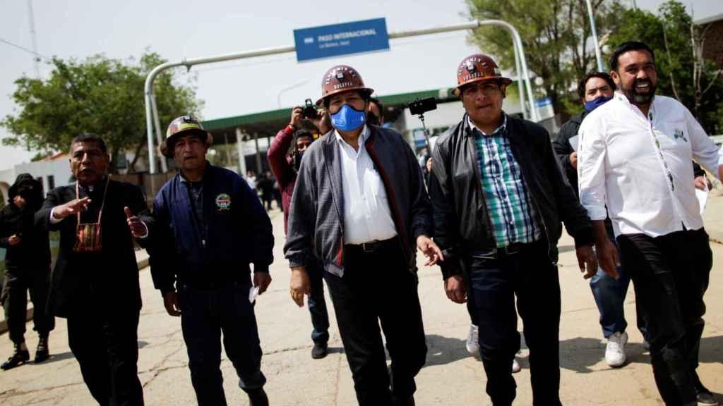 Llegada de Evo Morales.