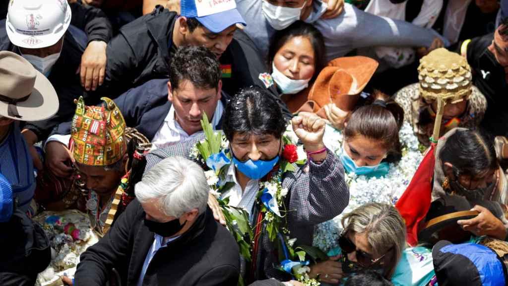 Evo Morales, a su llegada a Bolivia.