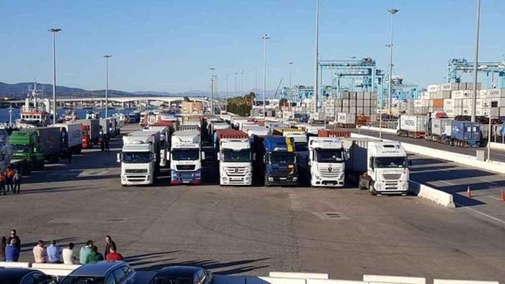 Camiones en el puerto de Algeciras.