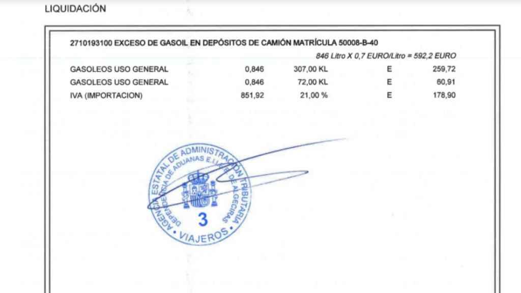Multa impuesta por la aduana española por exceso de combustible.