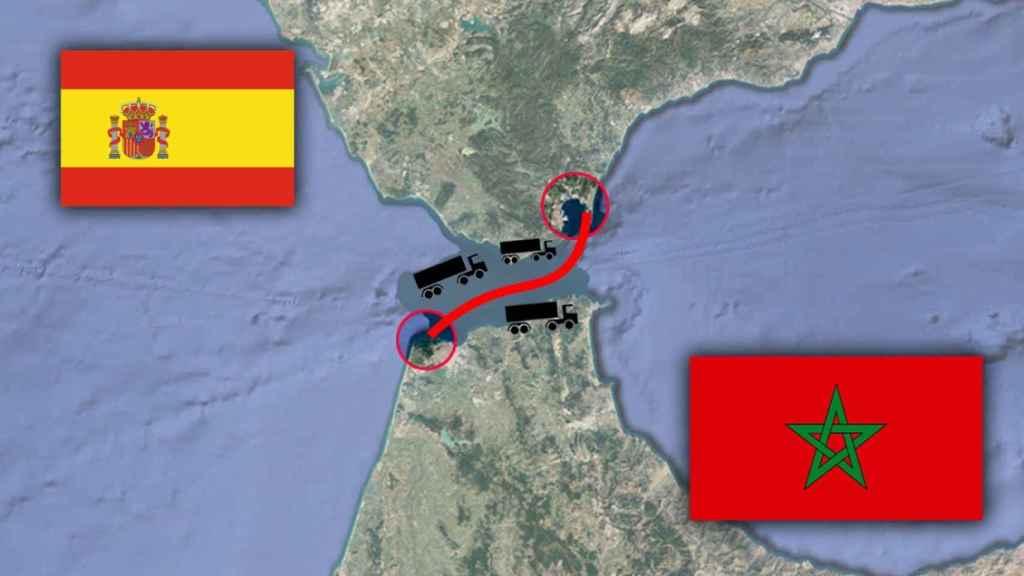 Ruta desde Tanger Med hasta España que hacen los camiones, en ferry.