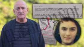 Fernando García, padre de Miriam, en la fotografía más reciente que se le ha tomado, junto al documento que acredita que los restos son de su hija.