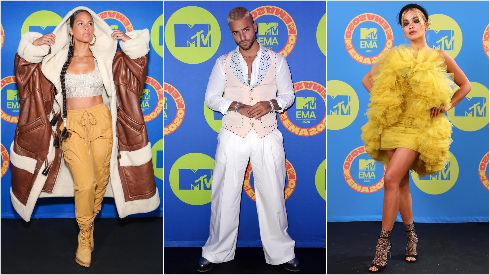 Alicia Keys, Maluma y Rita Ora en los MTV EMAs 2020.