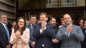 Mónica Oltra, Ximo Puig y Rubén Martínez Dalmau, líderes del tripartito valenciano. EE