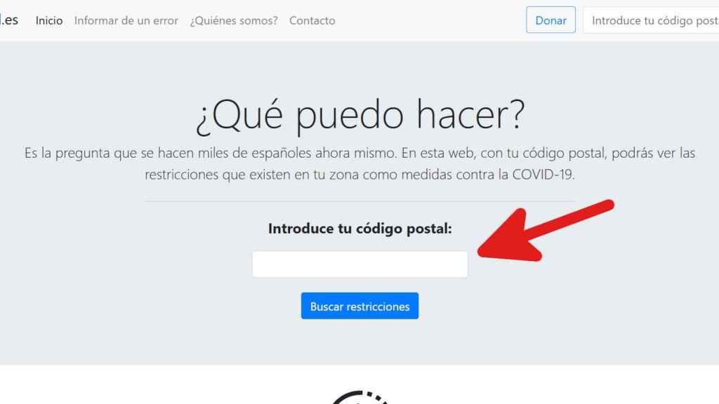 Para usar la herramienta de QueCovid, sólo es necesario el código postal