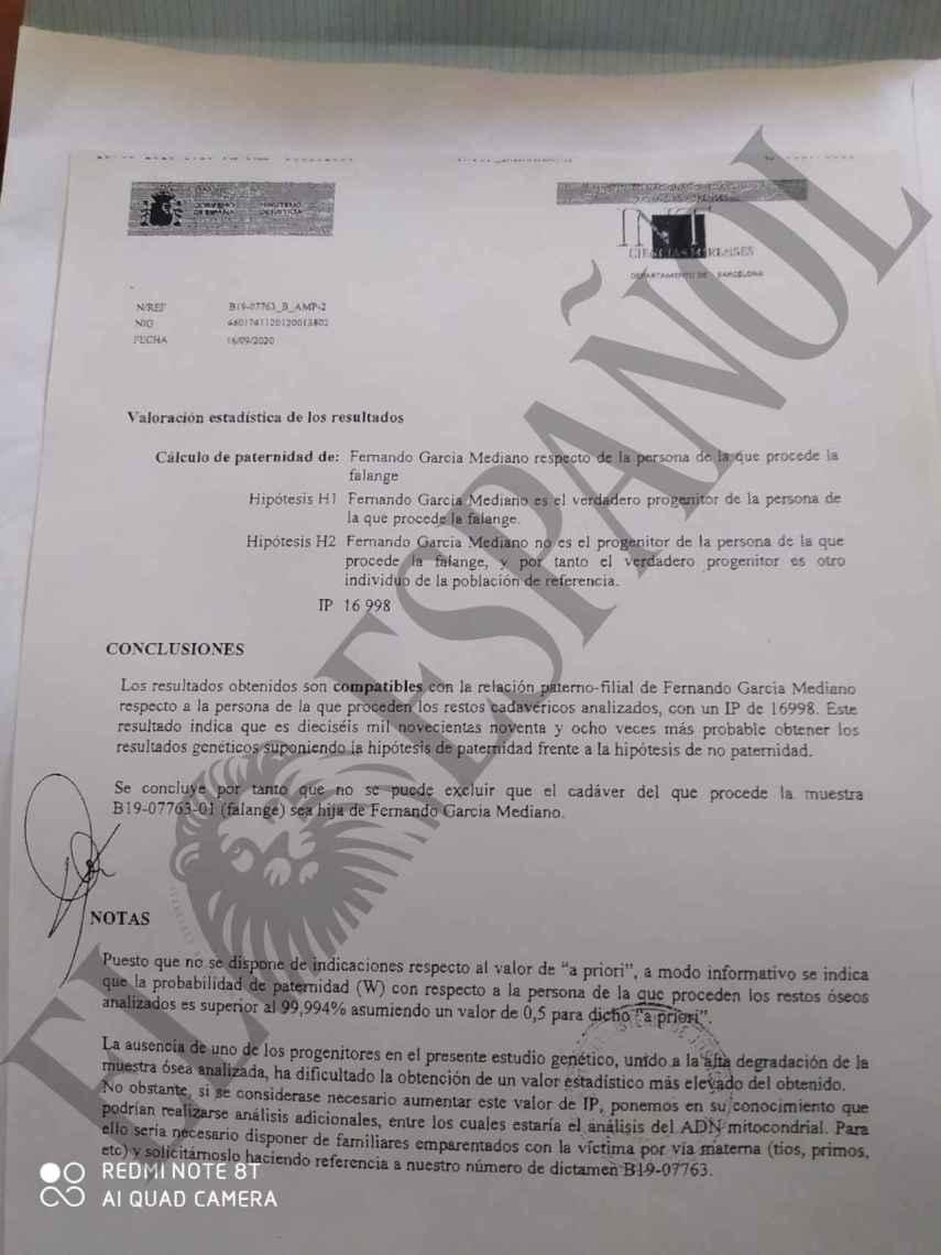 Notificación del del Instituto Nacional de Toxicología y Ciencias Forenses que confirma a Fernando que los huesos hallados pertenecen a su hija, Miriam.