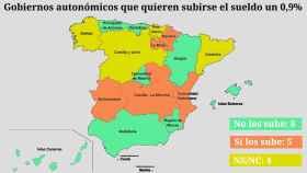 Mapa de la subida de sueldos por autonomías. EL ESPAÑOL