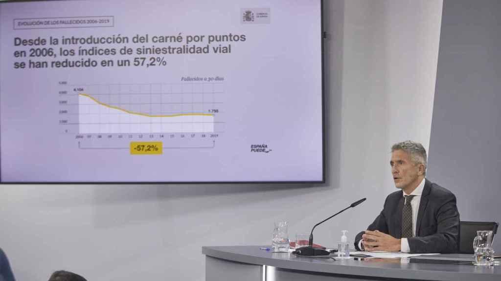 El ministro del Interior, Fernando Grande-Marlaska, durante la rueda de prensa informando de las medidas.