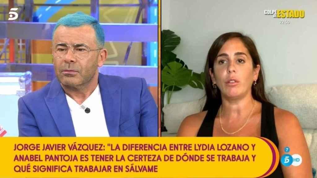 Jorge Javier  y  Anabel Pantoja durante la emisión de 'Sálvame Diario'.