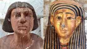 Una estatua de madera y una máscara dorada halladas en Saqqara.