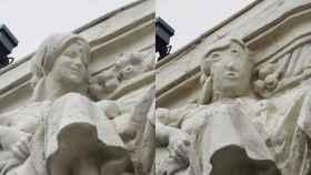 La escultura antes y después de la restauración.