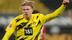 Erling Haaland, durante el Borussia Dortmund - Bayern Múnich de la Bundesliga