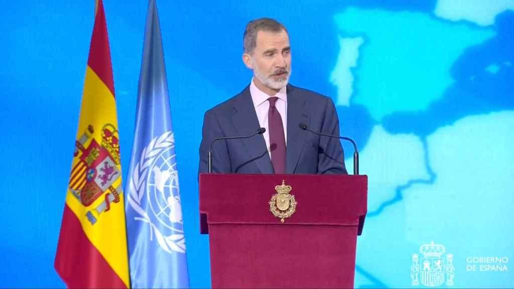 El Rey Felipe VI, durante su discurso en el acto de conmemoración del 75º aniversario de la ONU.