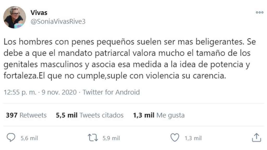 El tuit de Sonia Vivas, concejala de Podemos en el Ayuntamiento de Palma.