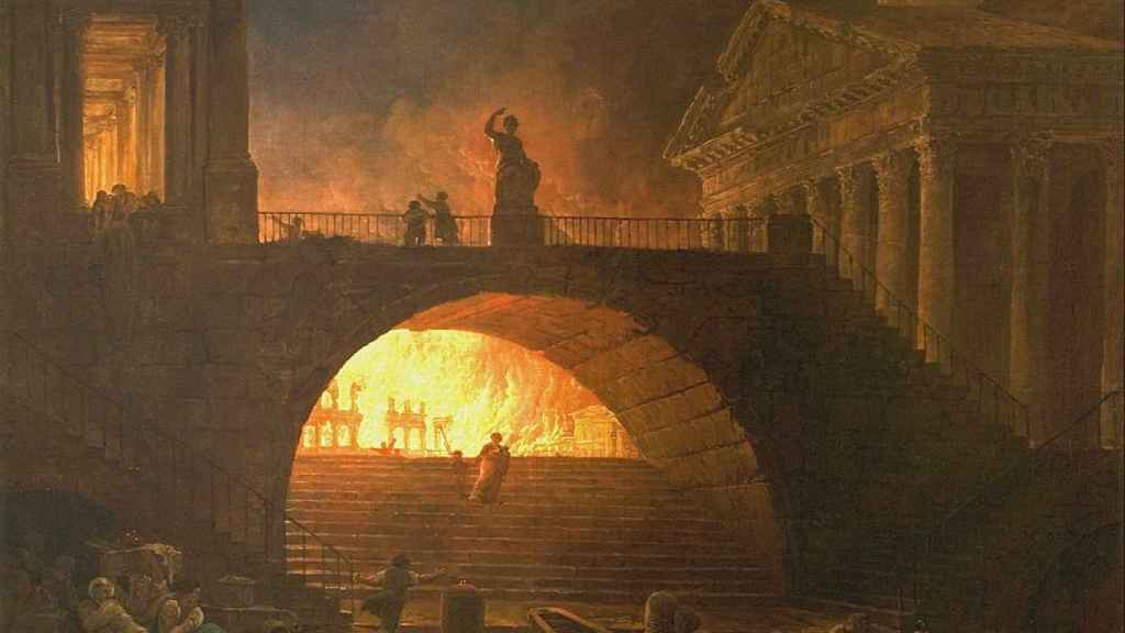 Lienzo de Hubert Robert sobre el gran incendio de Roma.