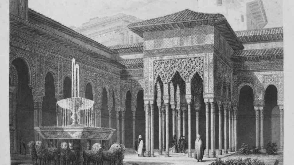Grabado del Patio de los Leones de la Alhambra de Granada.