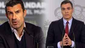 Luis Figo y Pedro Sánchez, en un fotomontaje