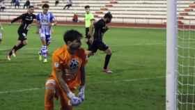 Manzano celebra uno de los goles de aquel partido. Foto: UB Conquense